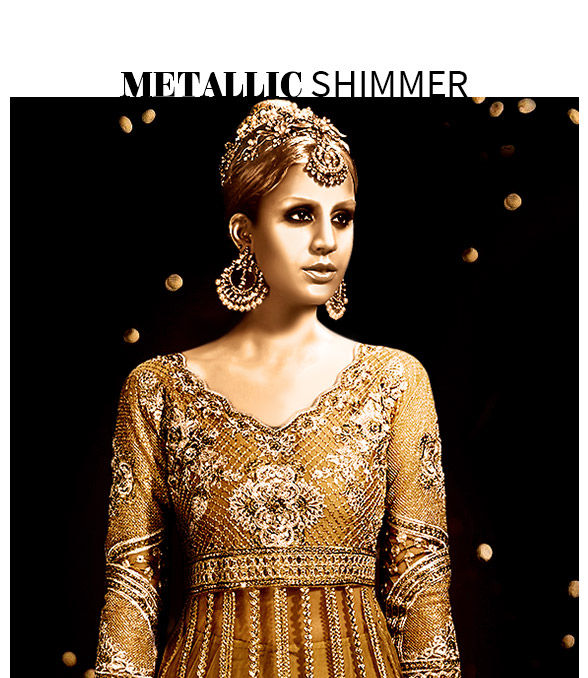 Sarees, Salwar Suits, Lehengas and Indo Westerns in Golden and Silver color. Shop!