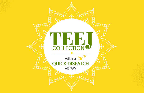 Teej collection of festive clothes plus Ready to Ship closet for timely delivery. Shop!