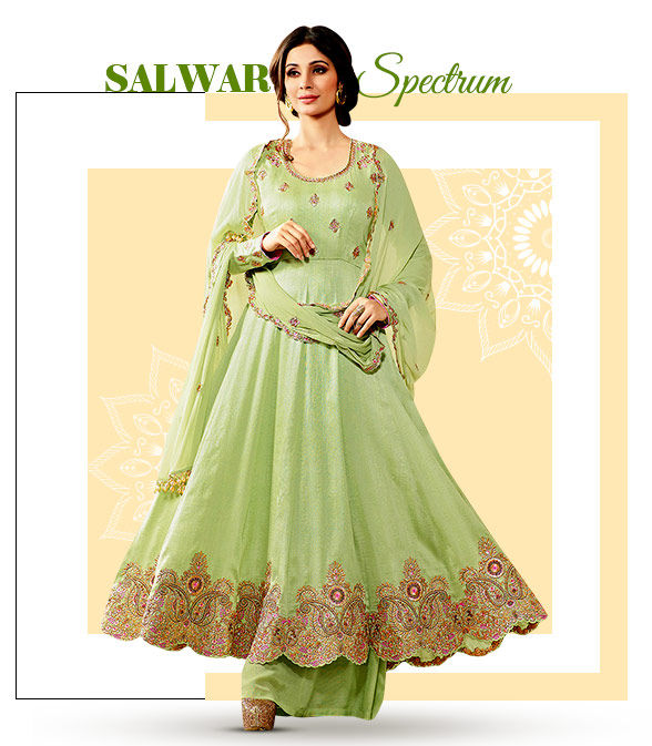 Salwar Suits for Teej: Silk, Georgette, Chiffon and Art Silk with Resham and Zari work. Shop!