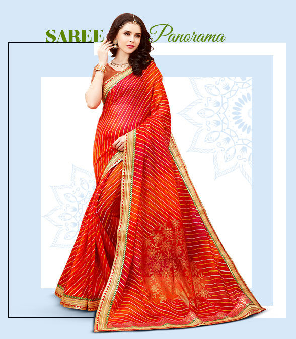 Sarees for Teej: Silk, Georgette, Chiffon and Art Silk with Bandhani print, Resham and Zari work. Shop!