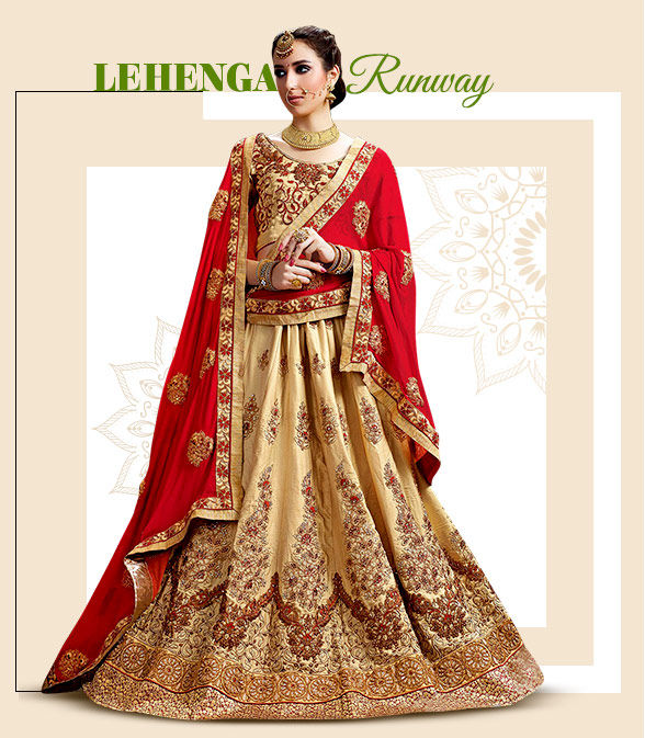 Lehenga Cholis for Teej: Silk, Georgette, Chiffon and Art Silk with Resham and Zari work. Shop!