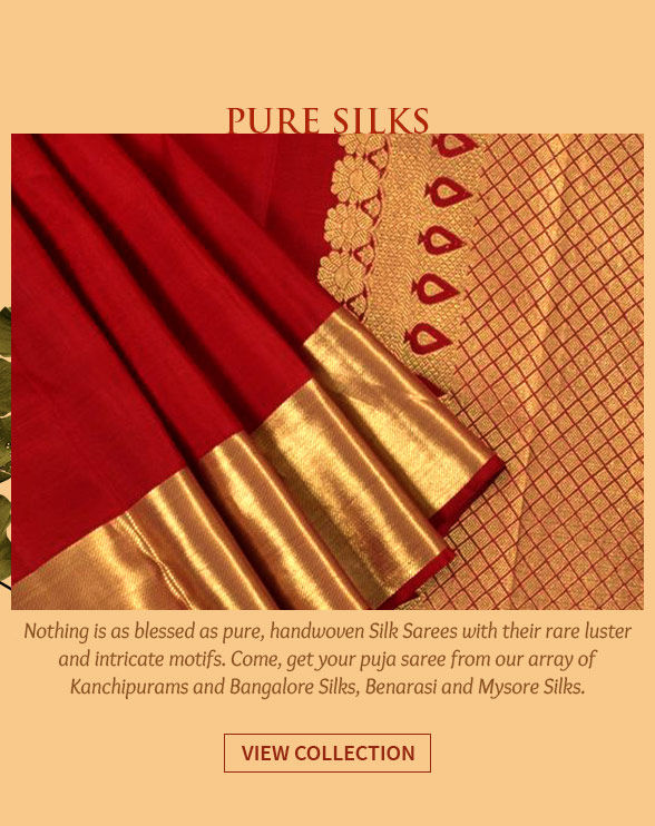 Kanchipuram, Bangalore Silks, Benarasi, Mysore Silks & more. Shop!