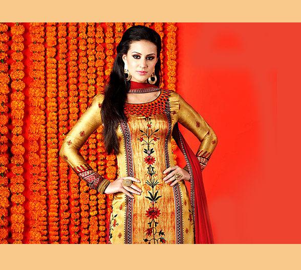 Golden-colored Salwar kameez, Sarees, Lehengas & more. Shop!