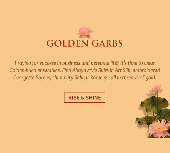 Golden-colored Salwar kameez, Sarees, Lehengas & more. Shop!