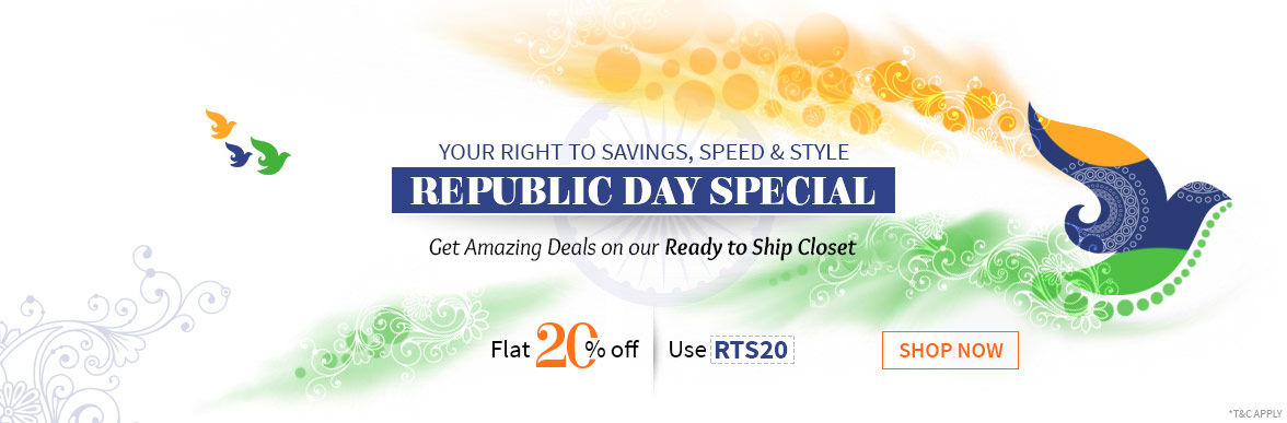 Flat 20% Off on Ready to Ship Closet of Sarees, Abaya styles, Kurtas & more for Republic Day. Shop!