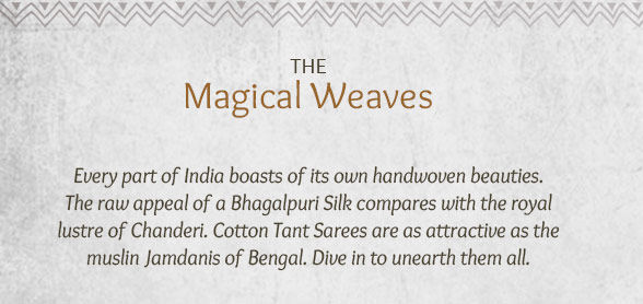 Bhagalpuri, Chanderi, Jamdani, Gadwal & Tant Handloom Sarees from India. Shop!