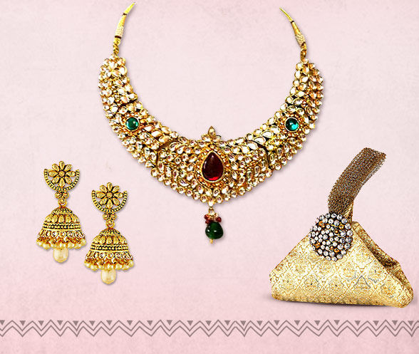 A range of Meenakari Jewelry, Jhumkas, Potlis, Mojaris, Kolhapuris & more. Shop!