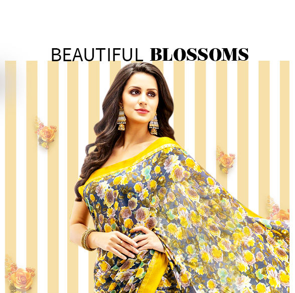 Discover floral prints and motifs in various styles in Indian Fashion. Shop!