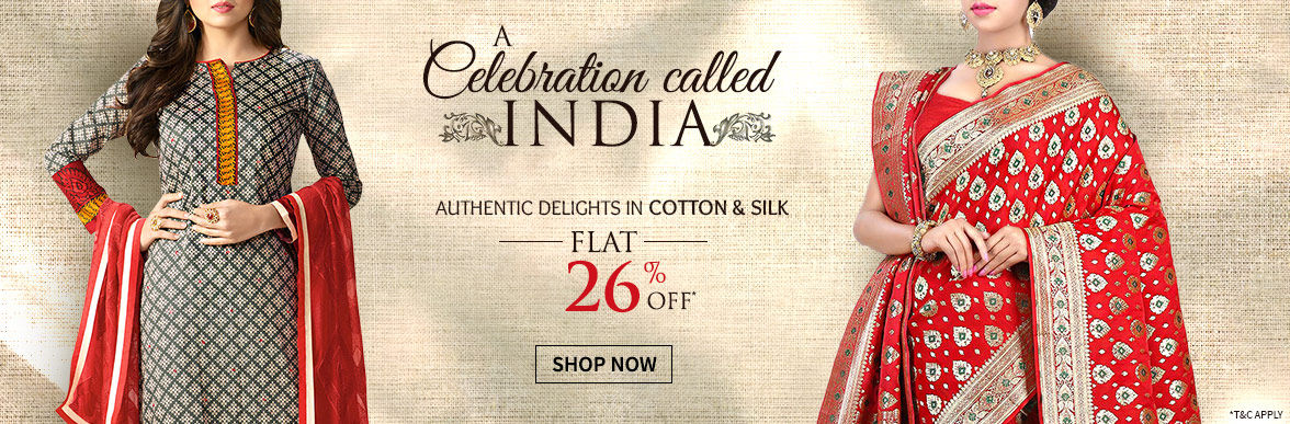 Flat 26% Off on Silk & Cotton Collection for Republic Day. Shop!