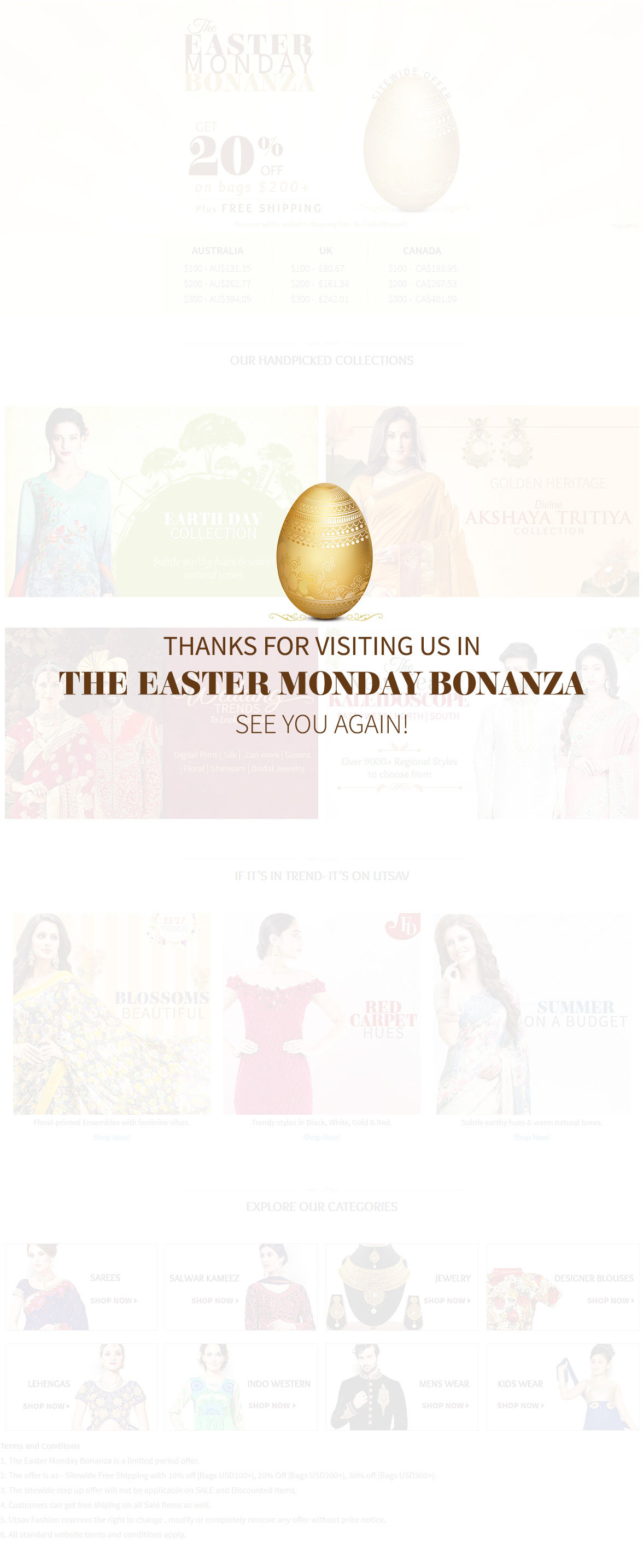Easter Bonanza offer up to 30% Off plus Free Shipping. Shop!