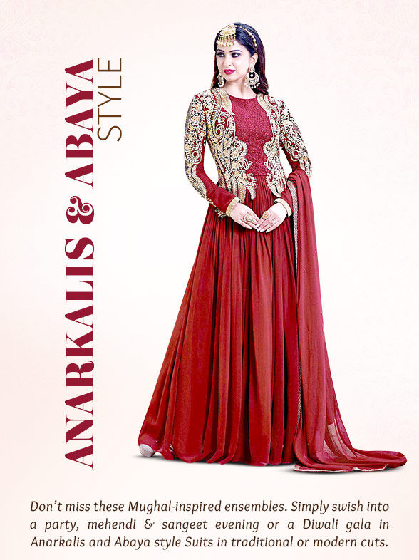 Must-have Anarkalis and Abaya style Suits in Layered & Flared Styles. Shop!