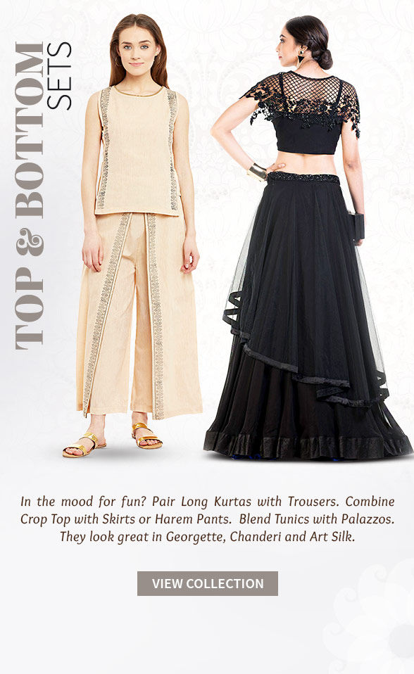 Must-have Top & Bottom Sets of Crop Top with Skirt, Kurta with Palazzo and more. Shop!