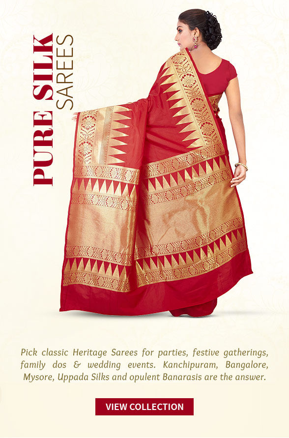 Must-have Kanchipuram, Mysore, Banarasi Silk, Uppada Silk & more. Shop!
