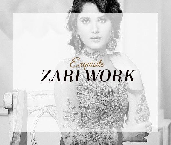 Georgette Sarees, Circular Lehengas & Abayas with Zari motifs. Splurge!