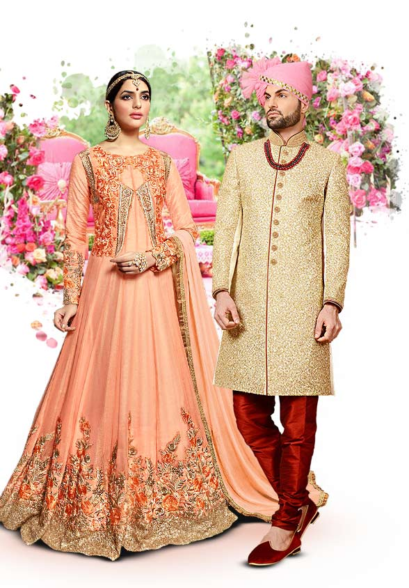 Salwar Kameez, Lehengas, Embroidered Sarees, Sherwanis & more for noon weddings. Shop!