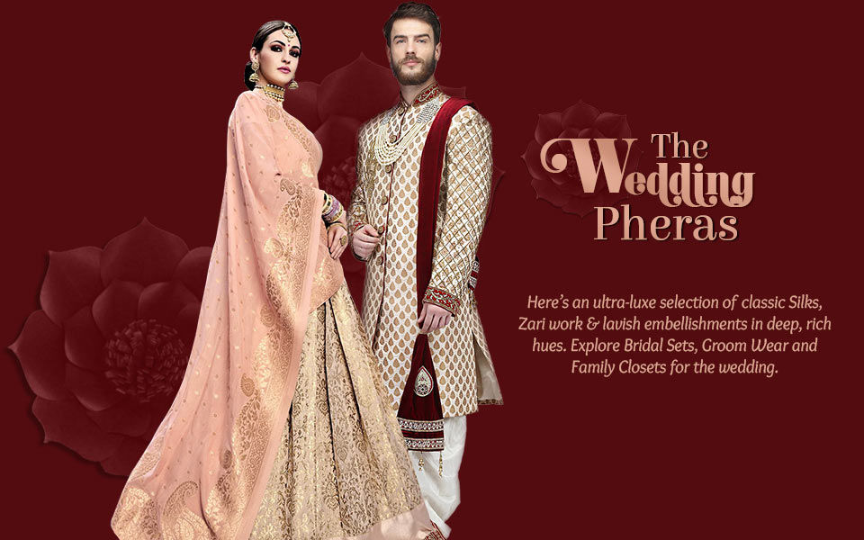 Zari work Sarees, Circular and A line Lehengas, Nehru Jackets, Sherwanis for pheras. Shop!