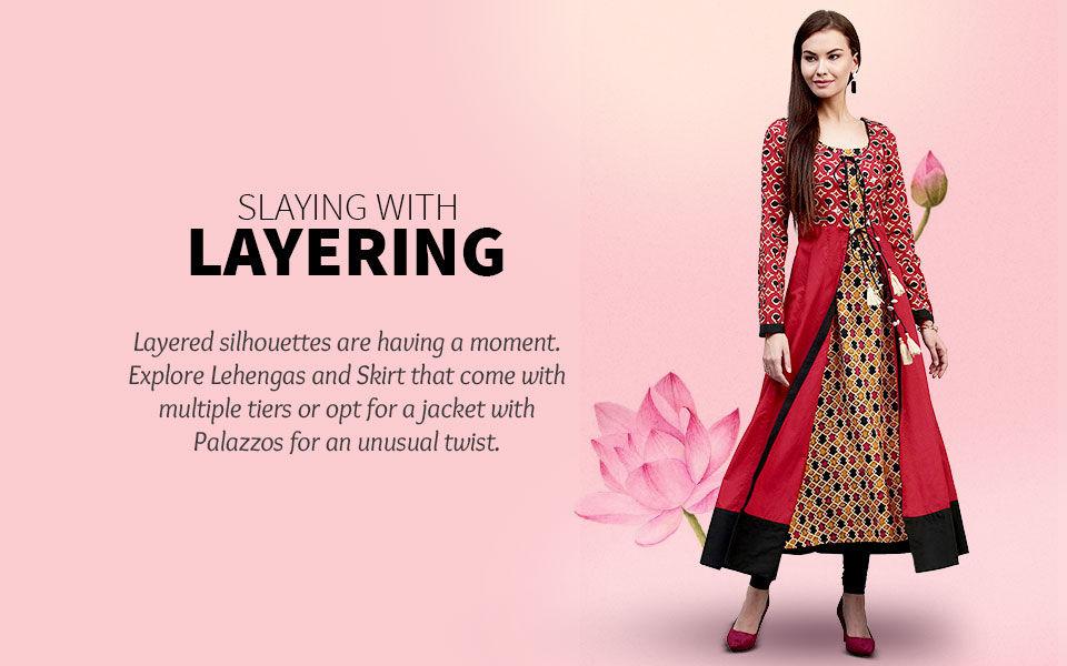 Layered Styles in Jacketed Lehenga Cholis, Tiered Skits, Jacket with Palazzos. Shop!