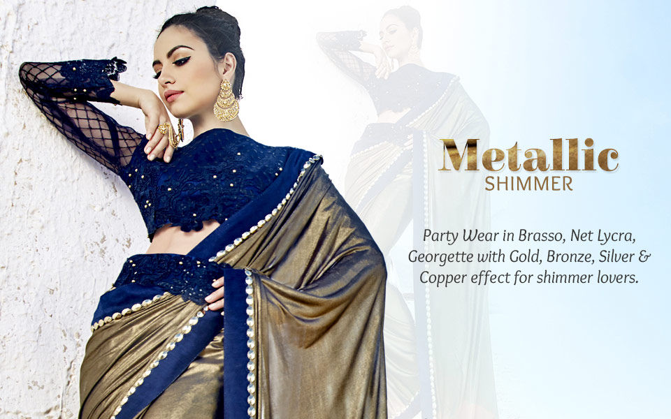 Explore the finest Indian ethnic wear in metallic shades.