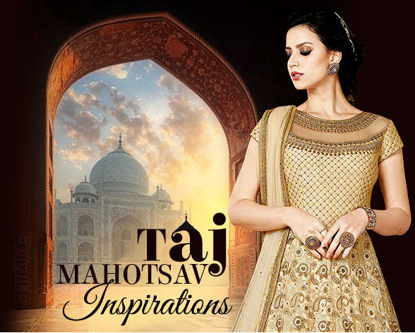 Taj Mahotsav Array: Anarkalis, Abaya Suits, Lehengas with Zari work and Jewelry. Shop!
