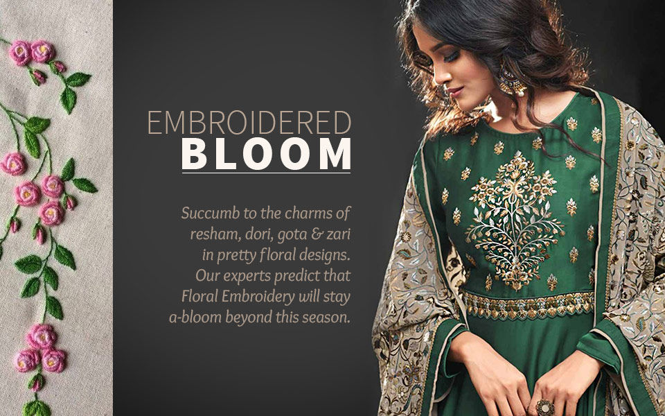 Floral Embroidery on ethnic ensembles. Shop!