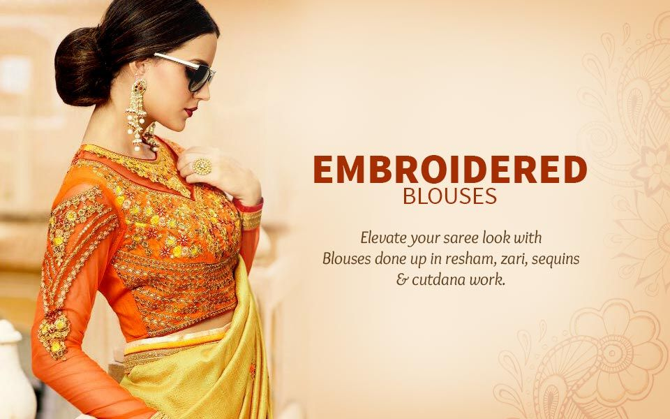 Embroidered Blouses with zari, resham, sequins and cutdana work. Shop!