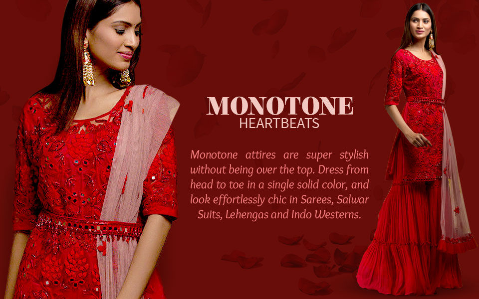 Apparels in single solid color - sarees, salwar suits, lehengas and fusion wear. Shop!