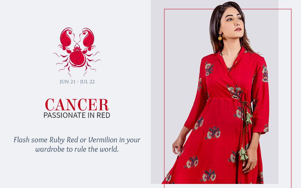 Red attires for Cancer. Shop!
