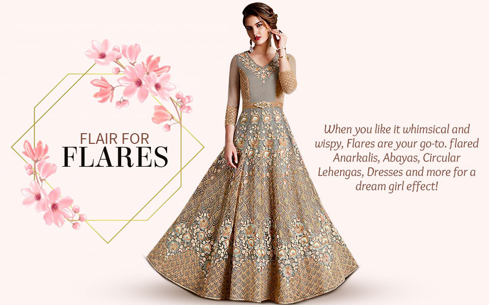 e59e07a8dd Shop Flared Sarees, Salwar Suits, Lehengas in Beautiful Indian Ethnic Wear  Styles.