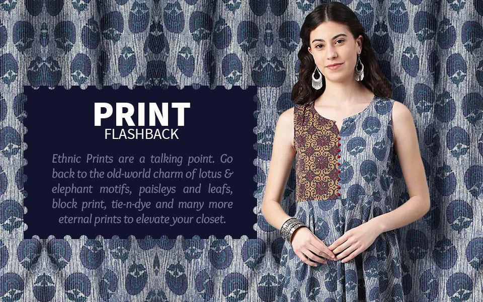 Attires with Lotus, elephant, paisleys, leafs, block print, tie & dye print n more. Shop!