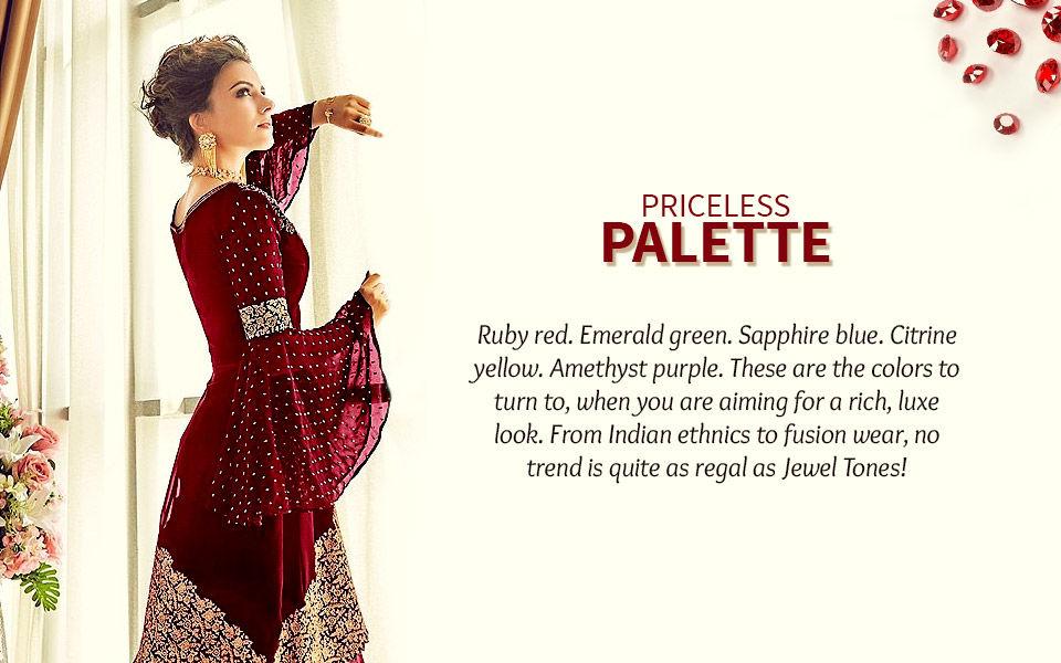 Jewel tones: Ruby red, Emerald green, Sapphire blue, Citrine yellow,. Amethyst purple.Shop!