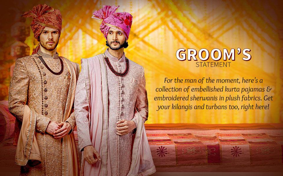 Groom's Collection: Kurta Pajamas, Sherwanis, kilangis, turbans and more. Shop!