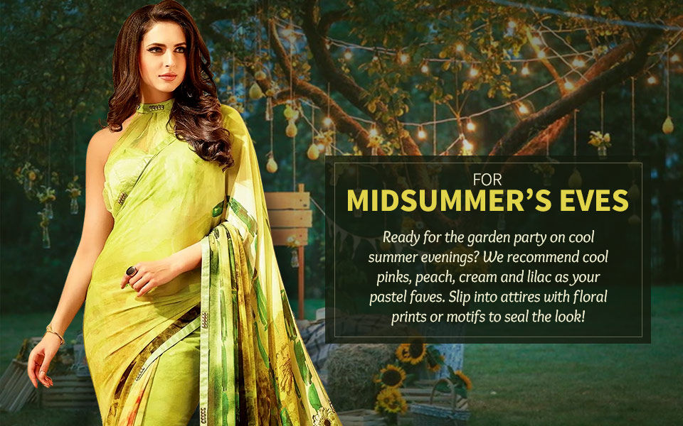 Floral embroidered or printed attires in pastel hues for Garden Parties. Shop!