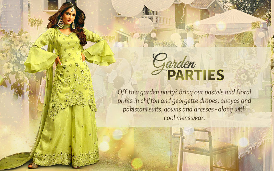 Garden Party: Sarees, Suits and Menswear in pastels and floral prints. Shop!