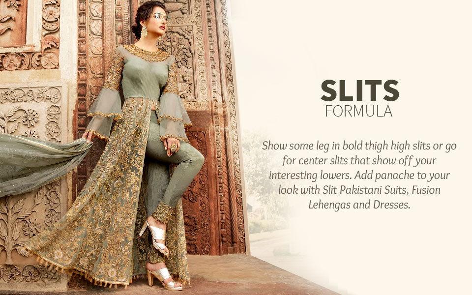 Pakistani Suits, Fusion Lehengas & Dresses with Slits. Shop!