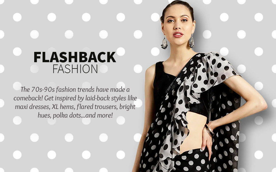 70s-90s Trends: Flared Trousers, Elongated Dress, Bold Colors, Layering & more. Shop!