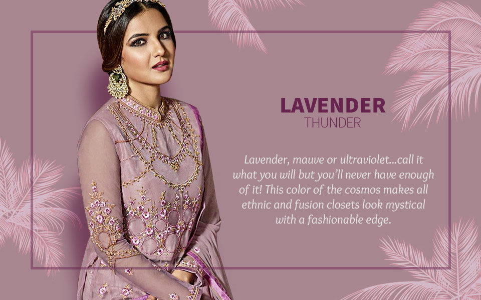 Lavender sarees, suits, lehengas and Indo Westerns. Shop!