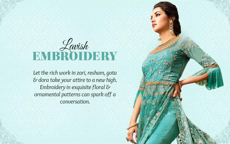 Zari, resham gota work in abaya suits, pakistani suits, sarees, gowns, kurtas and more. Shop!