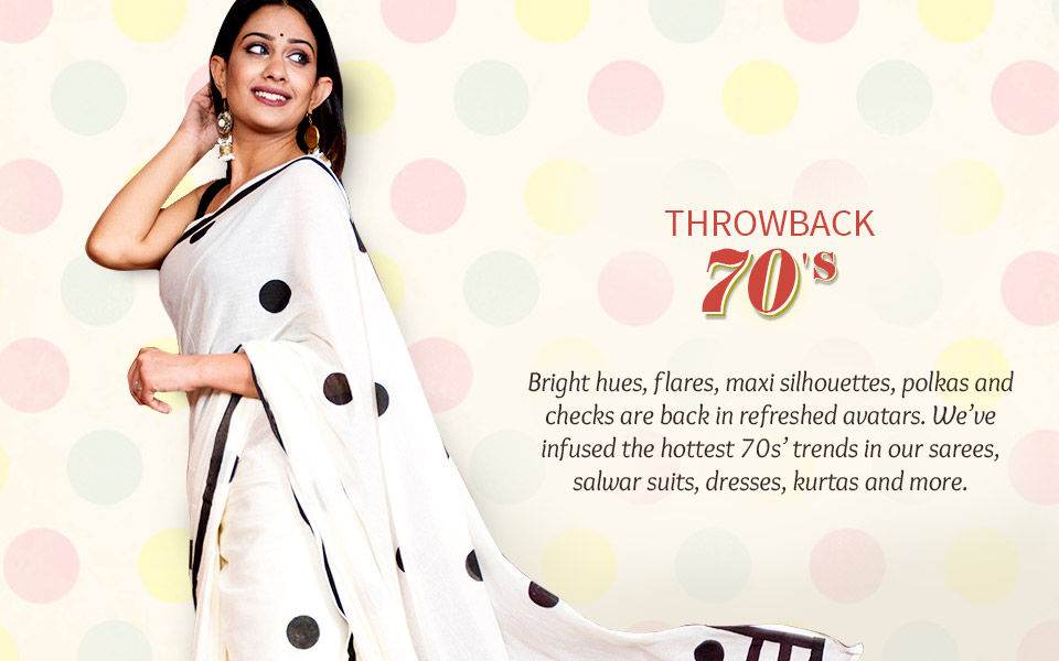 70s Fashion- inspired flares, brights, polka, checks and more. Shop!