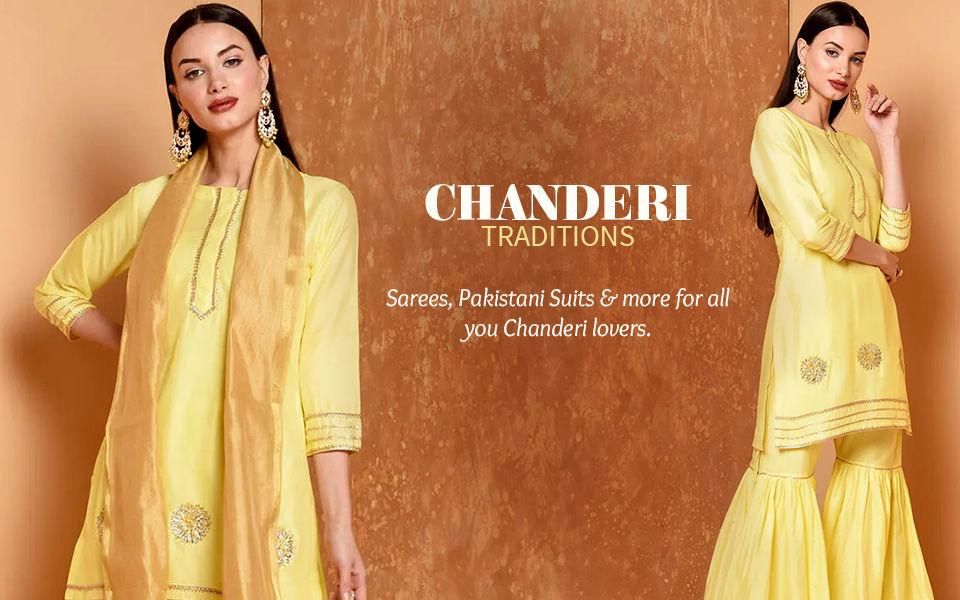 Classic Weaves: Sarees, Pakistani Suits, Kurtas & more in Chanderi. Shop!