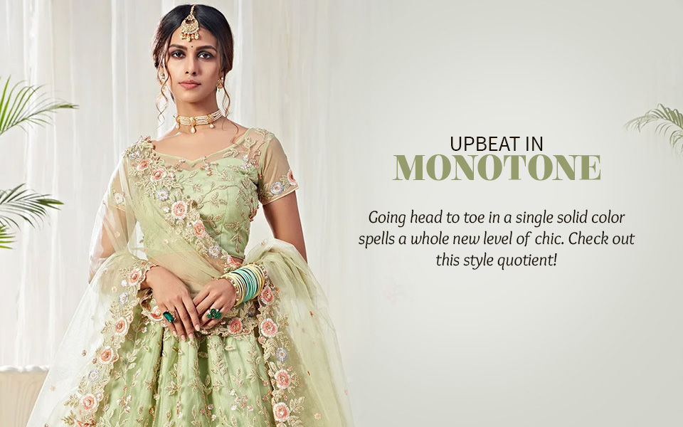 Monotone Top-n-Bottom Sets, Sarees, Salwar Suits & More. Shop!
