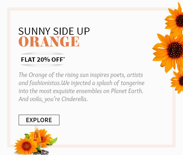 Flat 20% off on Orange ensembles. Shop!