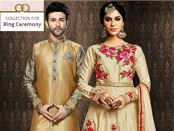 Indo Western Lehengas, Sheer Sarees, Abayas, Kurta Pajamas & more for Ring Ceremony. Shop!