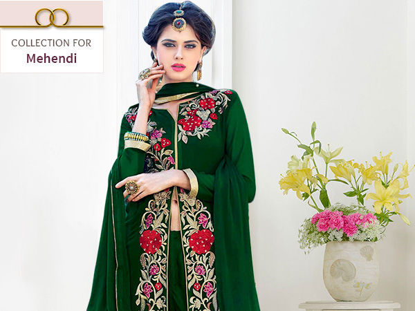 Anarkalis, Georgette Sarees, Front Slit & Floral Print Salwar Suits in Green for Mehendi. Shop!