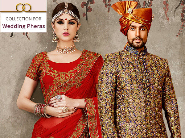 Circular Lehengas, Banarasi Sarees, Sherwanis, Kurta Pajamas for Wedding Pheras. Splurge!