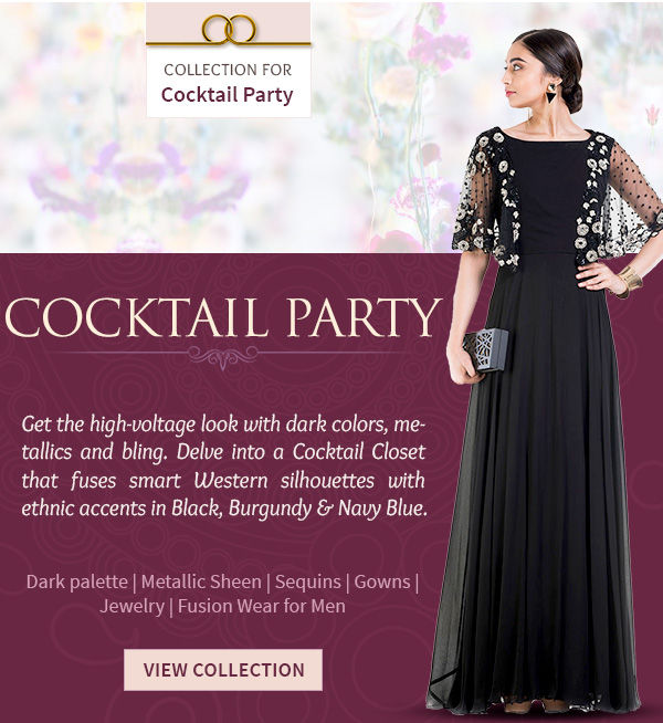 A Cocktail Closet of dark, blingy, stone work Attires & Add-ons for women & men. Shop!