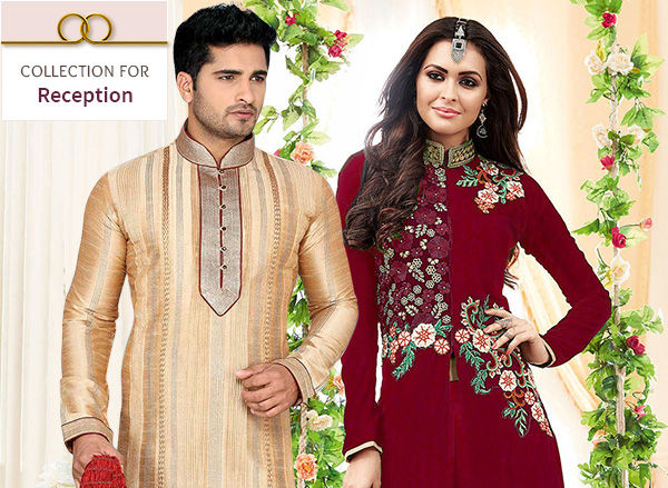Sarees, Abaya style Suits, Lehengas, Kurta Pajamas & more for Wedding Reception. Shop!