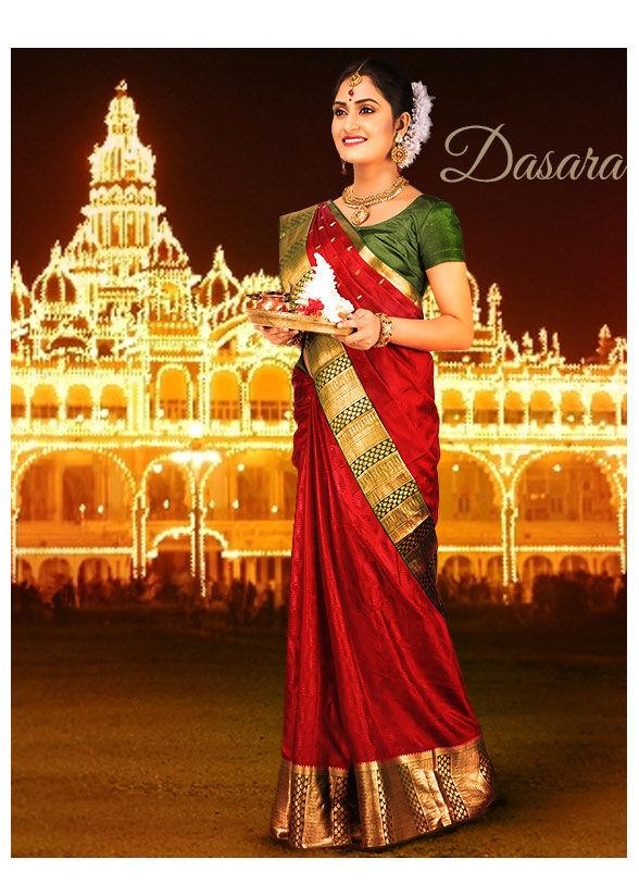 Navratri Collection for South: Kanchipuram Silks, Mysore Silk, Bangalore Silk Sarees and more. Shop!