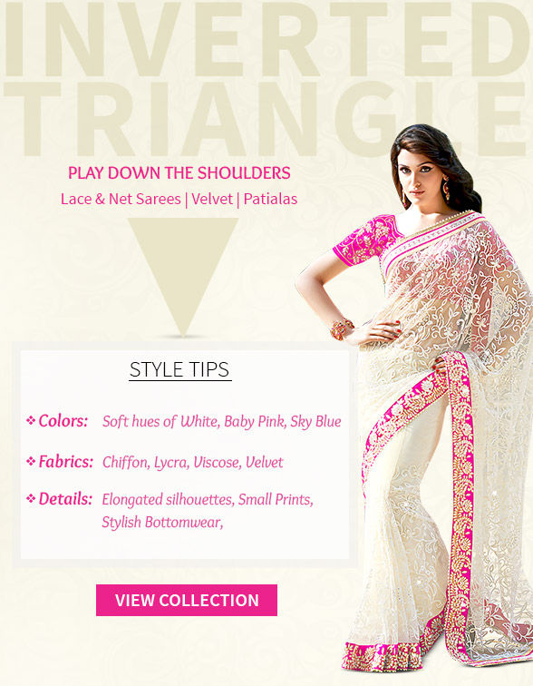 Lace, Net, Velvet Sarees, Palazzos & Patialas, Trouser Suits for Inverted Triangle shape. Shop!