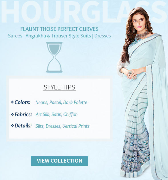 Sarees, Angrakha, Dresses & Skirts in Art Silk, Satin for Hourglass body shape. Shop!