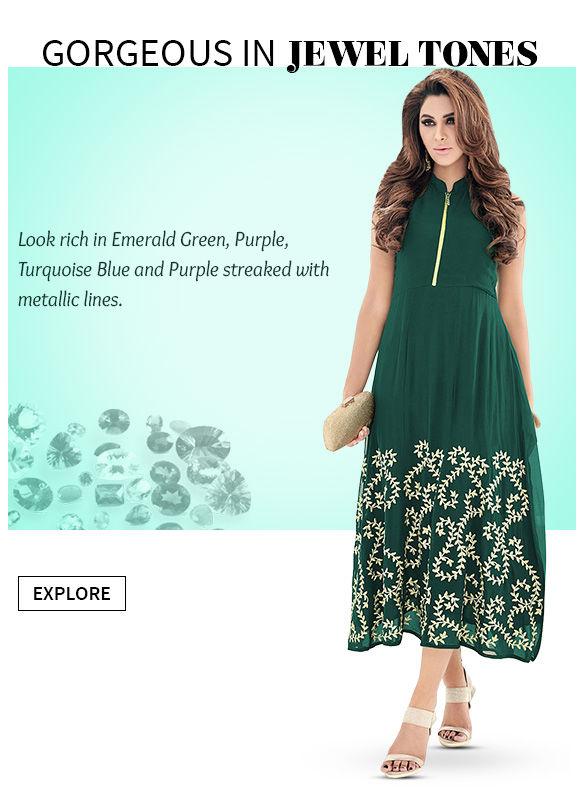 Offbeat Sarees, Jacket Lehengas, Abaya style Suits, Separates with unusual styling. Shop!